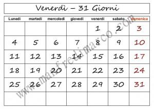 Calendario perpetuo da stampare_venerdì31